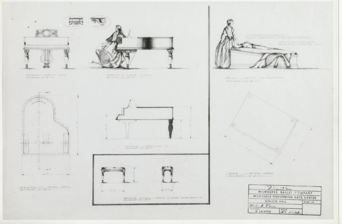 Design of the piano, piano stool, and bed